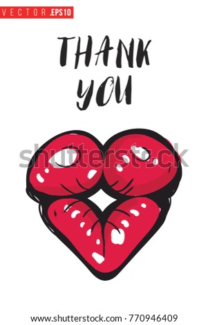 Vector Kiss Lips Motivational Text Thank Stock Vector Royalty Free