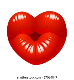 Vector kiss in the shape of heart