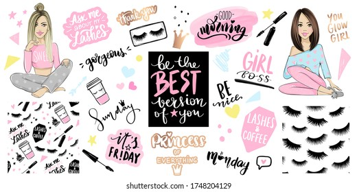 Vector Kit with girls or young women, seamless patterns with lashes, mascara and fashion quotes about makeup, days of the week, cup of coffee. Glamour and cute stickers, lettering calligraphy phrases.