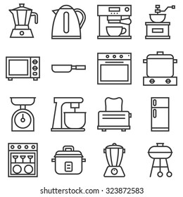 vector kitchen household icons, thin line