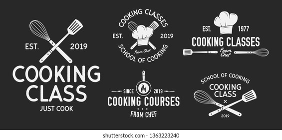 Vector Kitchen logo set. 5 Vintage cooking class emblems. Cook and Food labels, emblems, logo. Culinary school, food studio, cooking courses. Kitchen Logo template.