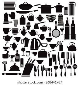 vector kitchen and restaurant icon kitchenware set - illustration