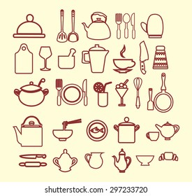 vector kitchen and restaurant icon, kitchenware set  outlined