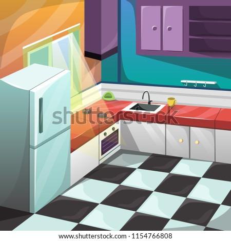 Vector Kitchen Set Interior Room Furniture Stock Vector Royalty
