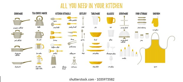 Vector kitchen tools set. Kitchenware collection in flat cartoon style. Dinnerware, tableware, utensils, cutlery. Modern flat design for web banners, web sites, printed materials, infographics.