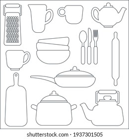 Vector kitchen utensils in line art style, set of cups, plates, teapot, cutting board, frying pan, pots, forks, spoons, knife for use on the website, in restaurants, postcards, print