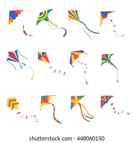 Vector kite colorful silhouette collection isolated. Outdoor summer activity objects. Cute flying toys. Holiday childhood entertainment.