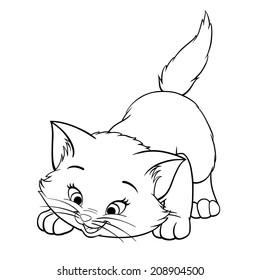 Vector kitten playing cartoon cute happy white cat smiling character cat line art coloring book black and white drawing illustration