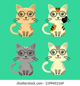 Vector kittens, funny and cute illustration