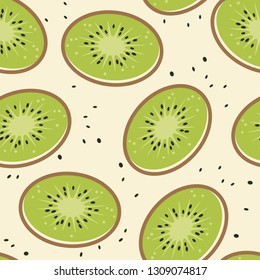 vector kiwi fruit seamless background pattern. random kiwi fruit slices and kiwi fruit seeds.