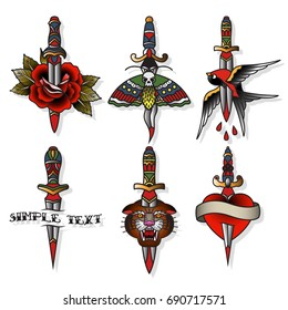 Vector Knife, Rose; Swallow, Moth, Tiger, Heart Traditional Tattoo Designs