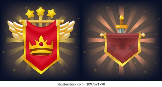 Vector knight flags with victory and failure, crown, stars, wings and sword. Perfect for games or other design works