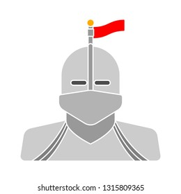 vector knight with helmet - vintage medieval isolated, medieval warrior illustration - steel helmet