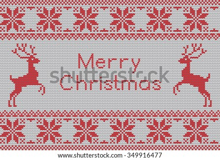 7526ac024 Vector knit pattern with scandinavian deers and sweater patterns. New Year  and Merry Christmas card