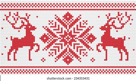 Vector knitted ornament with deers / red