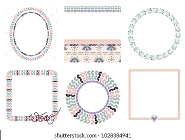 Vector knitted ornament frames set with needlework loops brushes and heart shape stitches in pale colors. Set with wreaths and embroidered lettering. Knitted racoon canvas.