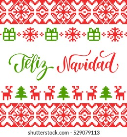 Vector knitted seamless pattern with lettering Feliz Navidad, translated Merry Christmas. Happy Holidays pixel endless frame. Colorful Nativity and New Year's elements for greeting card template.