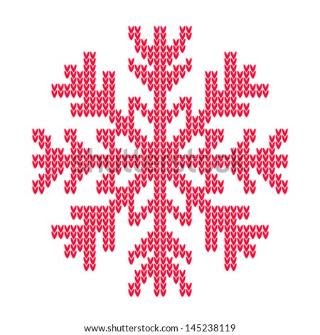 Vector Knitted Snowflake Stock Vector Royalty Free 145238119