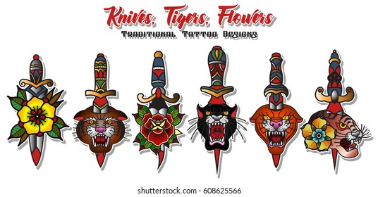 Vector Knives, Tigers, Flowers Set of Traditional Tattoo Designs