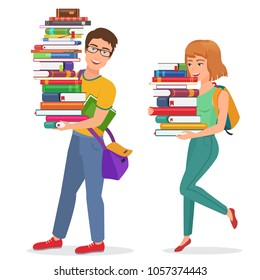 Vector Knowledge education illustration with guy and girl students carrying large stack of books. Man and woman student carrying books.