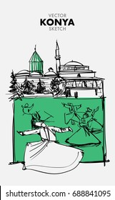 Vector KONYA Sketch - Hand Drawn Mevlana Museum and Dervishes