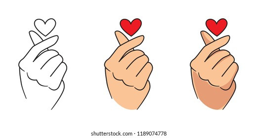 Vector Korean heart, love gesture set, outline, flat and cartoon Korean love symbols. K pop illustration isolated on white background.