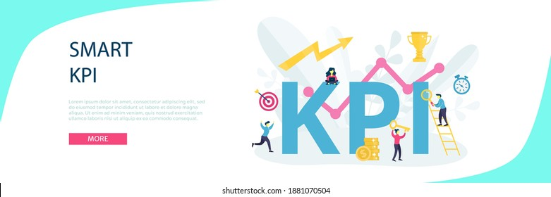 Vector KPI or key performance indicator with word concept. Idea of data review, following objective, optimization, strategy, measurement and evaluation. Flat illustration for banner, Landing page