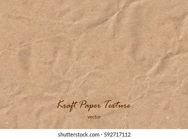 Vector kraft paper sheet. Brown rough paper texture. Wrapping