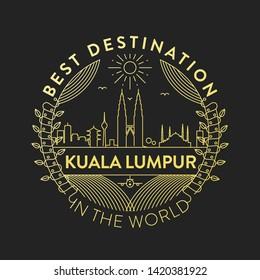 Vector Kuala Lumpur City Badge, Linear Style