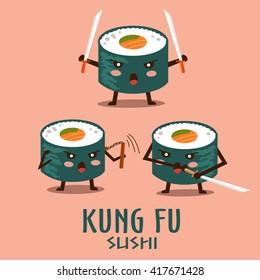 Vector kung fu sushi characters illustration set.