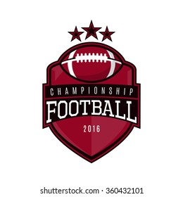 Vector label of american football. Logo of american football championship. Vector illustration.