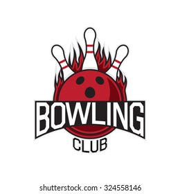 Vector label of bowling club. Template of vector logo.