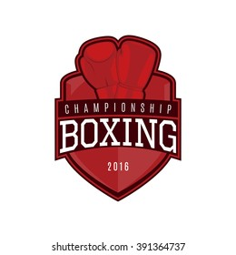 Vector label of boxing. Logo of boxing championship. Vector illustration.