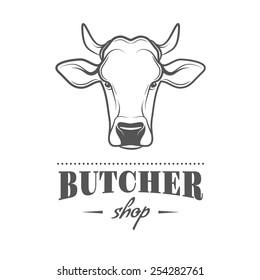 Vector label of butcher shop.