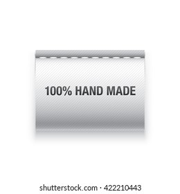 "Vector label. Clothing tag with ""100% hand made"" sign."