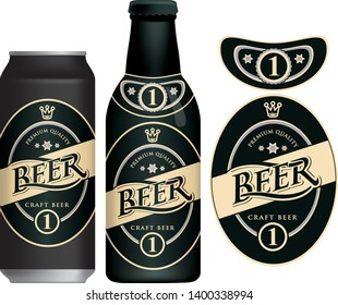Vector label for craft beer in retro style, decorated by crown and stars in oval frame. Sample beer label on beer can and beer bottle