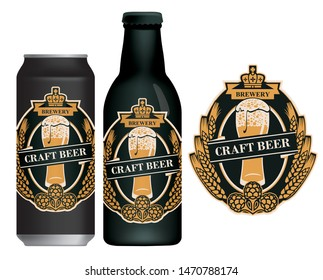 Vector label for craft beer in retro style on black background, decorated by wheat or barley ears, hops and overflowing glass of frothy beer. Sample label on beer can and beer bottle