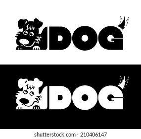vector label with a dog in black and white
