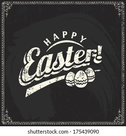 Vector label element of easter holiday on blackboard background. Perfect as template for greeting card