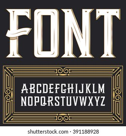 Vector label font with art deco ornament.  Font, good to use in any style labels of alcohol drinks. Business card, leaflet and other printing production. ABC. Alphabet with decoration