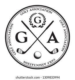 Vector label of golf. Logo of golf championship. Vector illustration.