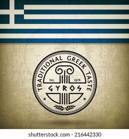 Vector Label for Greek Gyros on Grunge Background and Flag