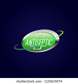 Vector label or logo Anti bacterial, protection or antiseptic icon symbol, for  healthy product like as soap, toothpaste and mouthwash. It can use for logo or background