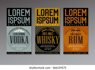 vector label set for vodka, whisky and rum