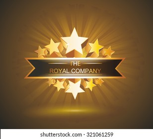 Vector label sign with gold stars and place for your text
