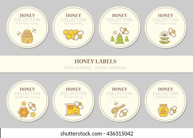 Vector label or sticker template with round emblems. Natural honey tags collection (sorts of honey - pure raw, spring, chunk, meadow, wildflower, forest, liquid, creamed honey). Warm color palette