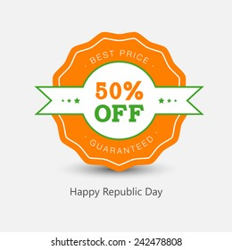 Vector label or tag design for republic day.