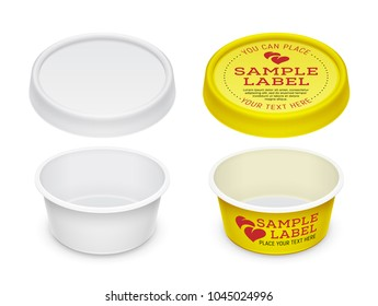 Vector labeled empty open round container for cosmetics cream, butter or margarine spread. Mockup isolated over a white background. Packaging template illustration.
