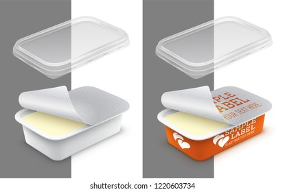 Vector labeled open rectangular plastic container with foil, transparent lid and butter, melted cheese or yoghurt within. Packaging mockup illustration.