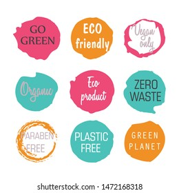 Vector labels with 100% natural tags. Vector illustration